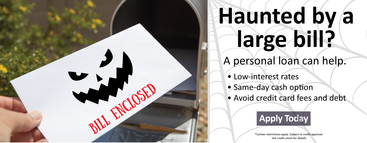 Image of a bill being pulled from a mailbox that has a ghost face.